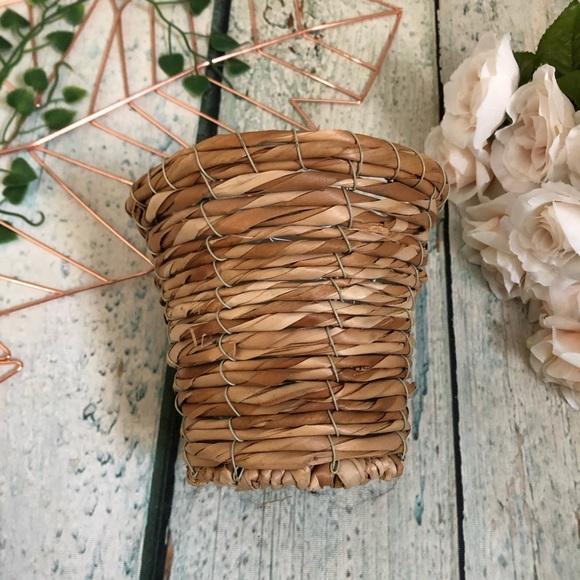Basket planter wicker weave brown boho decor tan